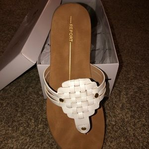 White Report Sandals size 8.5 NEW IN BOX
